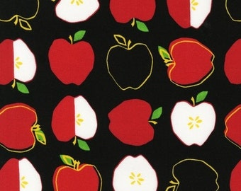 Fabric 11265-2 black APPLES Fruit Kitchen METRO MARKET Food Fruit Robert Kaufman Monoluna