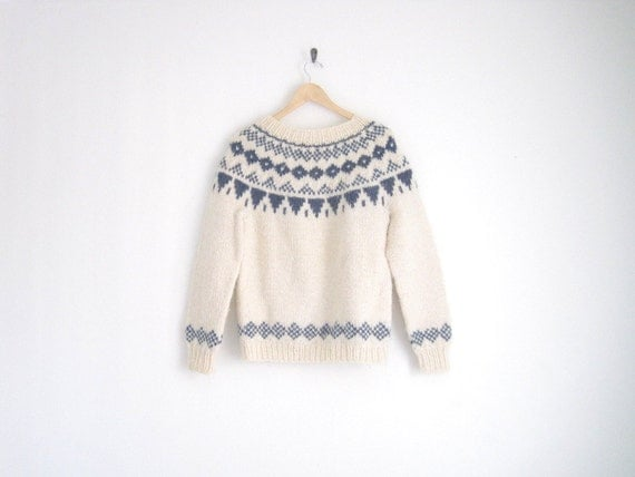 vintage nordic knitted sweater - cream wool sweater