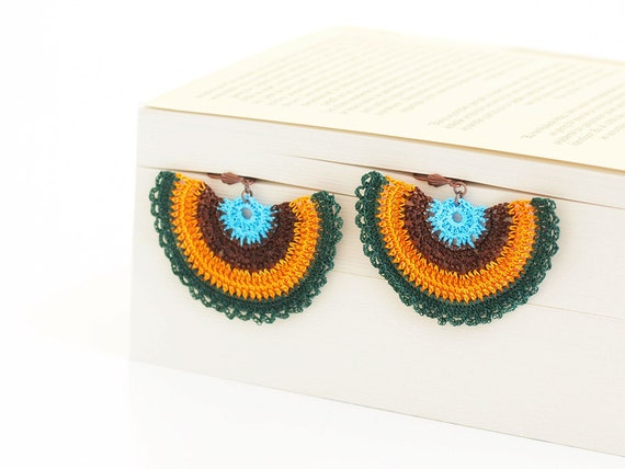 ON SALE Crocheted Earrings Green Orange Aqua Brown OOAK Hoop Hippie Boho Semicircle Hittites Twin Idol Goddess