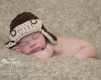 Crochet Baby Boy Hat Aviator Hat Chocolate and Oatmeal