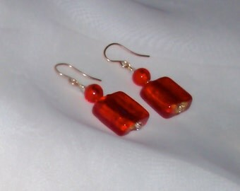 24K Gold Infused Orange-Red Square Murano Glass Earrings