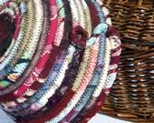 Round small coiled fabric basket - Boudoir Burgundies