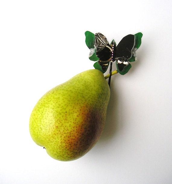 Funky butterfly hair clip / window deco / green tones