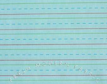 Half Yard Bungle Jungle Writing Paper in Aqua Blue, Tim and Beck for Moda Fabrics, 100% Cotton Fabric