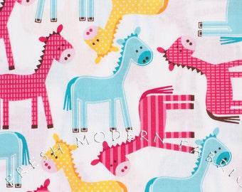 Half Yard Ponies in Spring, Urban Zoologie, Ann Kelle for Robert Kaufman, 100% Cotton Fabric