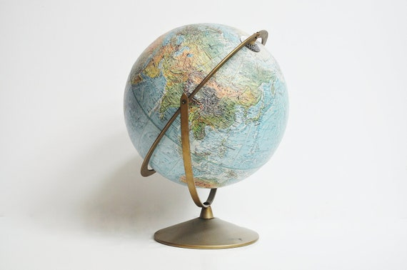 Vintage Replogle 12 inch Double Axis Desk Globe