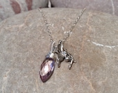 SOLD Faerie - pink amethyst and fairy silver necklace
