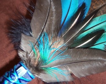 Smudge Fan- Flying Free - Sacred Smudge fan with Blue Kyanite Crystal - Made to Order