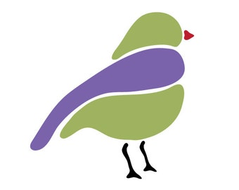 Perching Bird Stencil for Painting Kids or Baby Room Mural (SKU126-istencil)