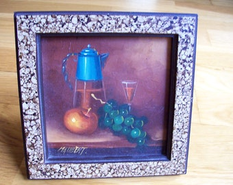 Vintage miniature oil painting grapes apple blue coffee pot a with frame and stand Maubert still life