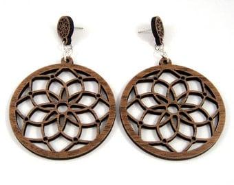 Dream Catcher Sustainable Wooden Post Earrings - 2 inch, Walnut