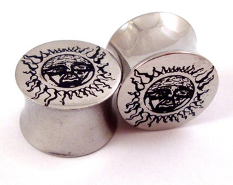 "Subliminal Sun 316L Steel Plugs - Double Flared - 0g (8mm) 00g (10mm) 7/16"" (11 mm) 1/2"" (13mm) 9/16"" (14mm) 5/8"" (16mm) Metal Gauges"