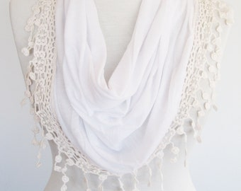 White Cotton Scarf, Infinity Scarf, Lace, Gift, Christmas, For Her