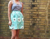 The Mint Cream and Chocolate 50s Style High Waist Gathered Skirt Size S/M