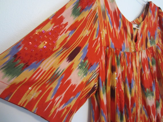 Zip Up Maxi Dress Cover Up Festival Wear Sequins Hip Tribal Ikat Coat Hipster Gypsy Boho