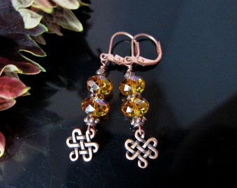 Copper and Topaz Swarovski Crystal Earrings