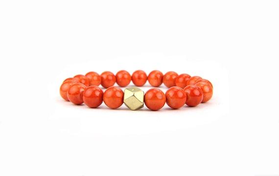 Stretch Bracelet Stacking Orange Gemstone, Gift under 25