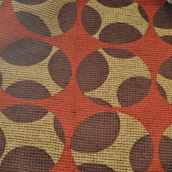 Vintage Upholstery Fabric - Geometric - Gold -