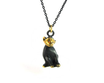 "Sitting Monkey Pendant - Large - Walter Bosse ""Black Gold"" Bronze Necklace - 26"" Chain"