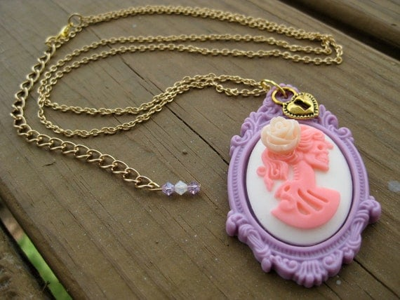 Lilac and Blush Pink Miss Skeleton Cameo - Fashion Necklace, Lolita Necklace, PInk Skeleton Necklace