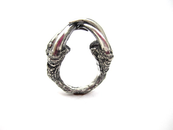 The Hunted - Owl Talon cocktail ring in Sterling silver