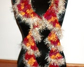 Scarf Ruffle Crocheted Fuzzy in Maroon, Rose, Orange, and Tan