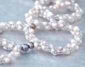 Freshwater Pearls Sculpted Necklace - Hand-knitted from Stainless Steel Wire with Light Rose Freshwater Pearls and Sculpted OOAK