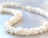 Freshwater Pearl Yarn Necklace - Hand-knitted from Cream Colored Nylon Yarn with Natural White Freshwater Pearls