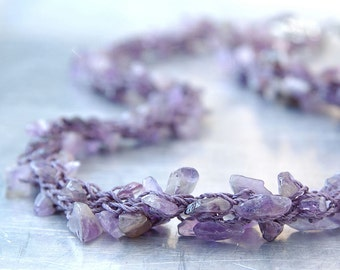 Amethyst Chips Yarn Necklace - Hand-knitted from Lavender Colored Nylon Yarn with Amethyst Chips