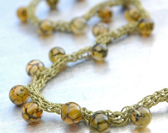 Crackle Agate Yarn Necklace - Hand-knitted from Olive Colored Nylon Yarn with Crackle Agate Beads