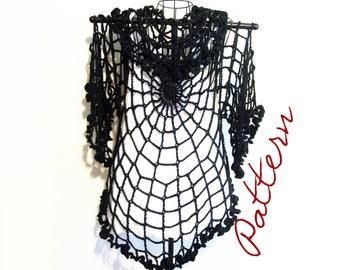 PDF Crochet Pattern: Spiderweb Lace Jacket/ Cardigan/ Shrug Gothic All Sizes DIY Adult Halloween Costume