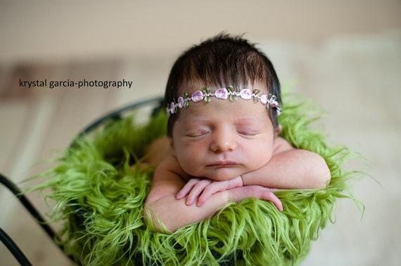 Newborn Flower Headband, baby girl, hair accessories, photography prop, rosette, headband