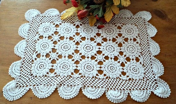 Vintage Crocheted Doily  Doilys Large White Doilies  A452