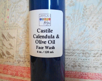 Organic Castile, Calendula & Olive Oil Face Wash - Moisturizing, Soothing, Simple, Gentle Skin Cleanser, or Sunflower Seed Oil, Face Wash