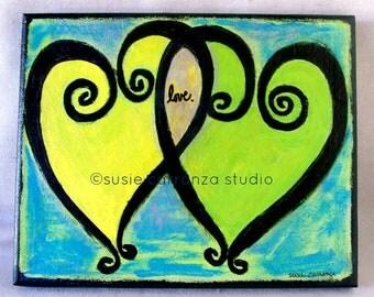 "Original 8"" X 10"" Canvas Art - ""love."" by Susie Carranza.  Acrylic paints on canvas. Susie Carranza Studio."