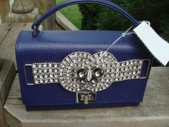 1950s Vintage Minaudiere purse/handbag /ladies Clutch Purse/Swarovski Encrusted/Travel Mirror/velour lining/ butterfly decor OOAK