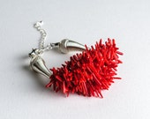 Red Coral Chips Beaded Bracelet For Autumn Spiky OOAK Gift For Her - DevikaBox