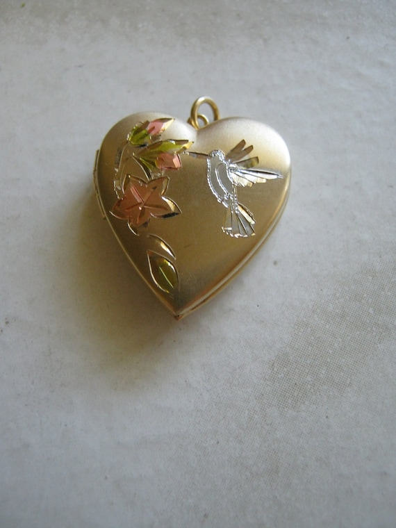 Hummingbird Heart Gold Locket