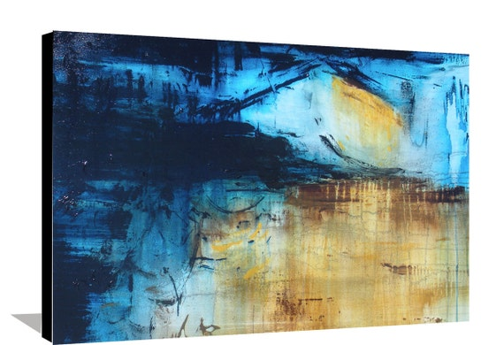 Abstract Blue Painting Brown Yellow Large Original Abstract Stretched Canvas Acrylic Modern Decorative Wall Art 36x24 By Heather Day