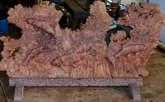 Oregon Big-Leaf Maple Burl Trout Carving With Walnut Stand