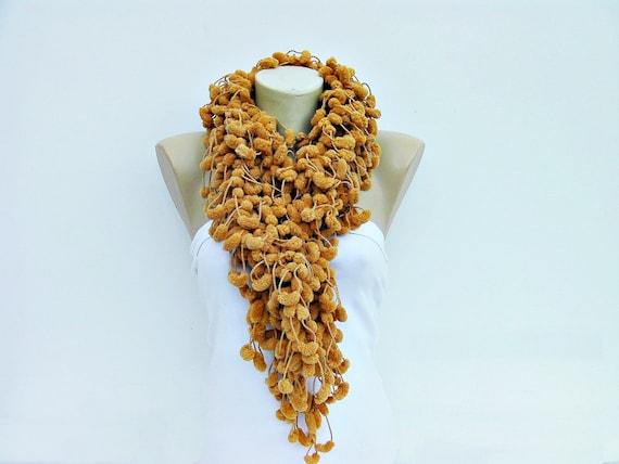 Mulberry scarf/Pompom scarf /cocoon scarf /scarf