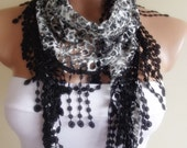 black white scarf with lace edge stylish scarf shawl gift for her christmas gift bridal