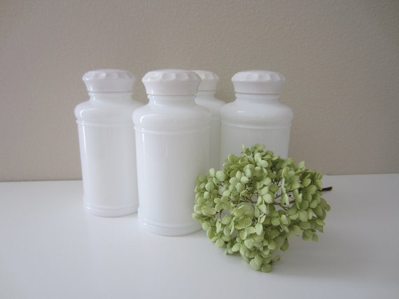 sale 10% off with coupon code spring10 - vintage milk glass spice jars x 4