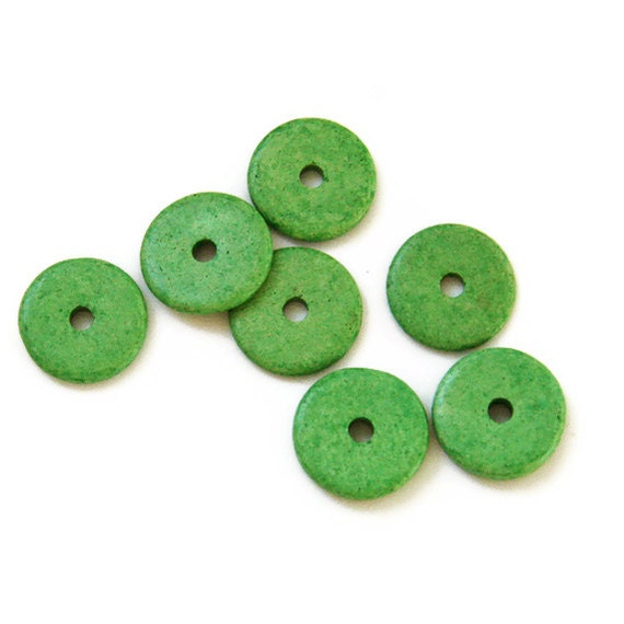 Light Green Ceramic Disc Beads  Round Washer