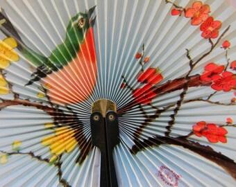 Beautiful Shanghai Paper Fan, Singing Bird Sitting On A Branch