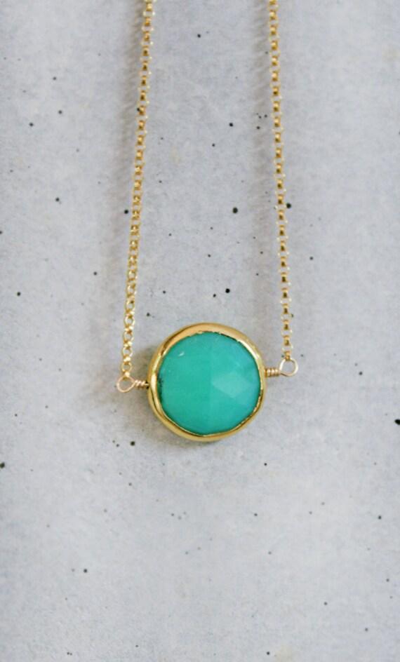 SALE - Mint Chrysoprase Bezel Bracelet 14k GF