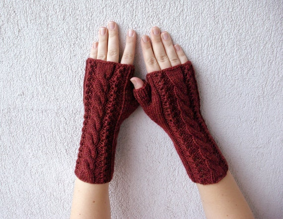 Brown Hand-knitted Cabled Fingerless Gloves/ Wrist Warmers.