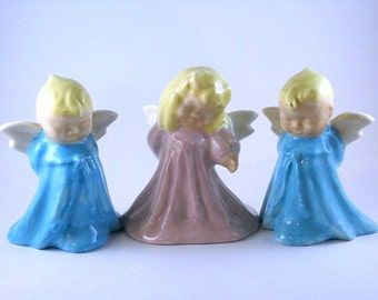 Baby Angels Figurines pink blue wings smiles yellow hair long gowns