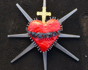 Sacred Heart Sculpture Found Object Assemblage Nails Wire and Crucifix One of a Kind 23