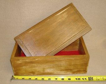 Box Handcrafted Solid Wood Keepsake Jewelry Home Decor Stained Wood Poplar New